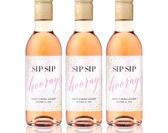 Sip Sip Hooray MINI WINE Bottle Labels - Weatherproof Bridal Shower Wine Labels - Bachelorette Party Favors - Milestone Mini Wine Labels