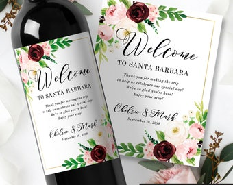 Wedding Welcome Gift Wine Labels - Rustic Wedding Wine Bottle Labels - Wedding Guest Gift Bag - Wedding Favor Stickers - Guest Reception