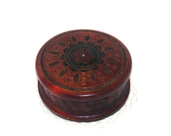 Polish Wooden Jewelry Box Ornament wood box Round Pyrography Trinket Box Hand Tooled Handmade Box hand carved box Soviet Decor Polish box