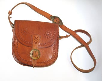 Polish Folk Leather BAG shoulder bag Purse Hand Tooled Leather BAG Vintage Bag Flower Boho Purse Hippie bag retro long strap gypsy boho chic