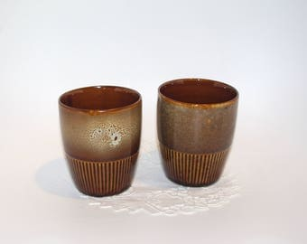 "Set of 2 Soviet vintage ceramic mugs ""Sophia"" brown, desinged by ADAM SADULSKI Made in Poland Mirostowice Polish mugs glazed bohemian cups"