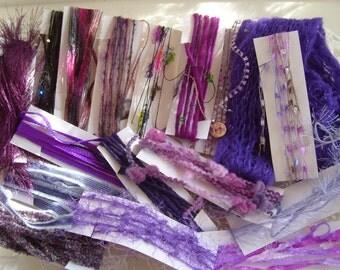 "Fiber art yarn bundle/specialty fiber/""Purple Paintbox""/17 yds. embellishment trim/scrapbook/weaving/craft yarn/journal/cardmaking/add-ins"