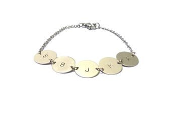 5 Initial bracelets, bracelets, bridesmaid bracelets, silver bracelets, chain bracelet, silver initials, personalized bracelet, mum bracelet