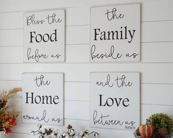 Kitchen Dining Room Prayer Wood Sign Bless The Food Before Us White Black Christian Home Decor