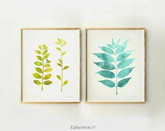 Poster prints set Modern Botanical art Nature prints 11x14 Printable Summer wall art Teal blue and green art, 2 Set art prints, Summer decor