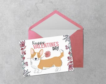 Printable Valentine Card - Corgi - Instant Download PDF Cute Corgi Dog with Flower Valentine's Day Card - Cut and Fold Greeting Card