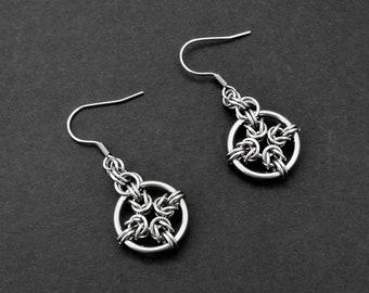 Stainless Steel Byzantine Sun Cross Chainmaille Earrings