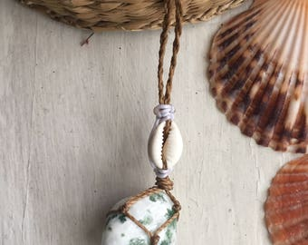 Tree agate crystal necklace, tree agate macrame necklace