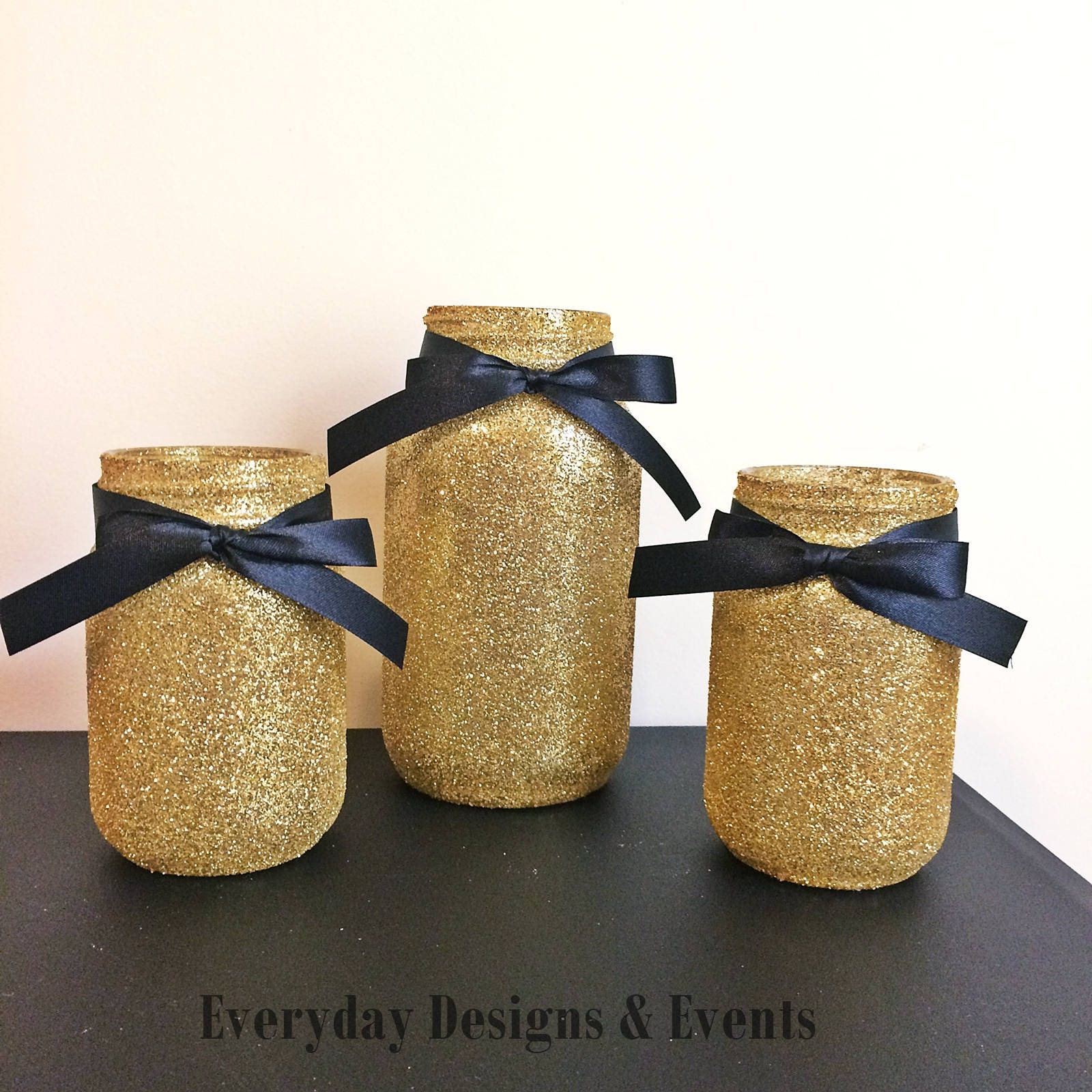Black Gold Mason Jar Decor baby shower ideas baby shower
