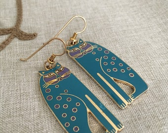 """Laurel Burch """"Siamese Cats"""" Turquoise and Lavender Dangle Earrings - Slight Defect on Enamel of one Earring"""