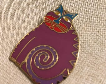 """Laurel Burch Large """"Mythical Cat"""" Brooch * 1-1/2"""" x 1-1/4"""""""