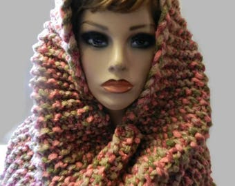 Hand Knitted Cowl Hood Snoodie  V5653