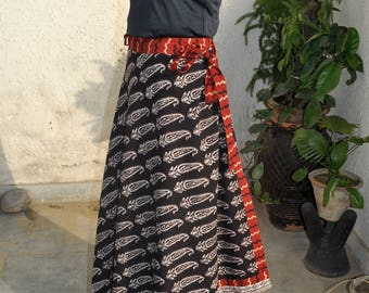 Flared skirt long skirt Wrap around Skirt Flared skirt Block Print Summer Skirt