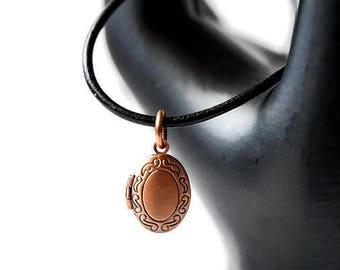 Copper Locket, Photo Locket, small locket, brass locket, carved locket, locket necklace, lockets for women, tiny locket, oval locket