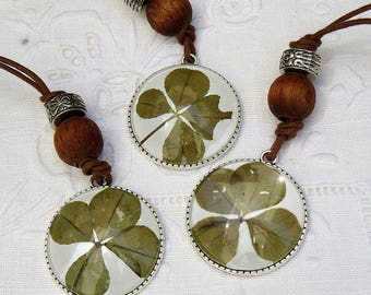 REAL Four Leaf Clover Necklace Wood Cord Tree Lucky Cabochon