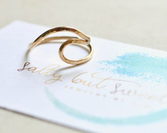 Wave Ring, Sterling Wave Ring, Gold Wave Ring, Ocean Wave Ring, Beach Ring, Wire Wave Ring