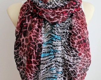 Leopard Print Scarf Animal Print Scarf Leopard Scarf Boho Fabric Scarf Women Leopard Scarf Birthday Gift  Autumn Gift for Women Christmas