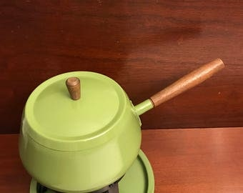 Vintage Fondue Pot, 1970s Fondue pot, Avocado Green Fondue pot, Vintage Fondue set, Gift for her, hostess gift, Fondue Party, New old stock
