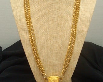 Vintage Cadoro Huge Faux Lapis Blue  Cabochon Embossed Goldtone Pendant Medallion Chain Necklace