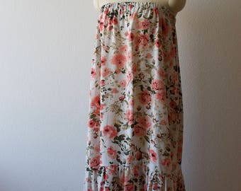 Summer Floral Maxi Skirt Strapless Dress