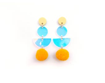 Yellow PomPom Drop Earrings - Rainbow Iridescent Earrings - Pastel Earrings - Pom Pom Earrings