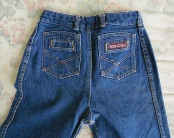 Vintage Bon Jour Paris High Waist Straight Leg Blue Jeans Dark Indigo Denim 28x33