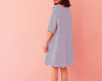 T shirt dress, women's t shirt dress ,  oversize t shirt dress, oversize tunic, shirt dress, striped t shirt dress, striped  t shirt dress