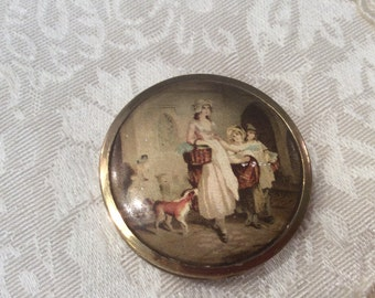 Victorian Scene Compact Miniature Yardley Empty London Vintage