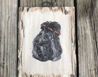 Vintage Poodle Painting on Wooden Plaque 1960's
