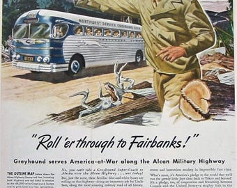 1943 Greyhound Bus Vintage Advertisement Travel Agency Wall Art Travel Decor Original Magazine Print Ad Military WWII Ephemera