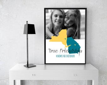 Best Friend Gift, Long Distance, Going Away Gift for BFF, Sister Gift Birthday Gift for Best Friend Two State Map Canvas Print -51877