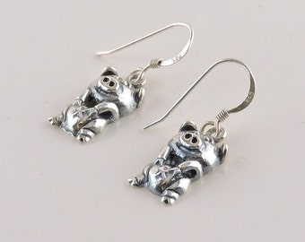 Sterling Silver Happy Pig Dangle Earrings