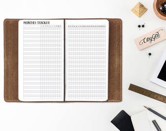 Monthly Habit Tracker - Fitness Goals - Weekly Habits - Goal Tracker - Month calendar - Wide or Composition size - Travelers Notebook