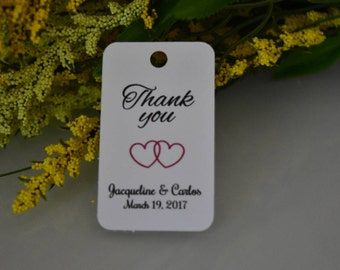 Wedding FAVOR TAGS / set of 10 tags. white satin ribbon is included.