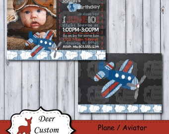 Plane Birthday Photo Invitation | Aviator Chalkboard Photo Birthday Invite | Chalkboard Plane Party | Time Flies Birthday Party | Airplane
