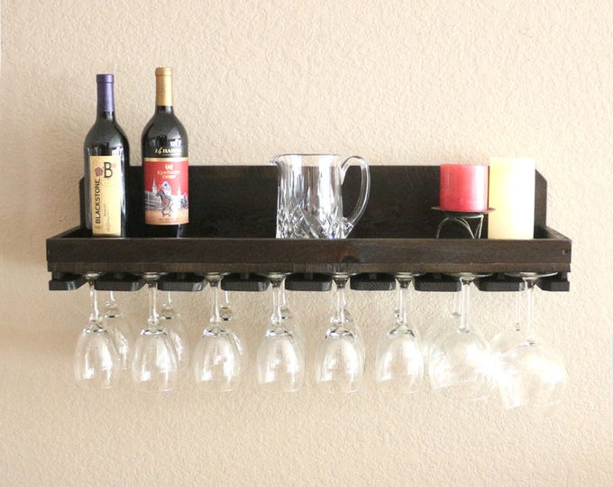 "32"" Rustic Wood Wine Rack Shelf & Hanging Stemware Holder Bar Organizer Rack"