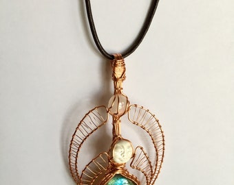 Bass Under the Moon Labradorite and Moonstone Bassnectar Wire Wrap Pendant