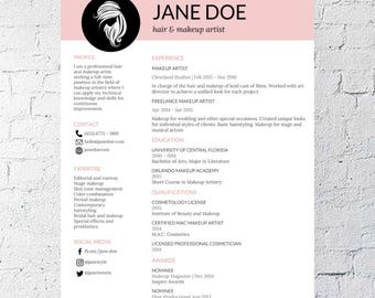 Resumé Instant Resume  Etsy Front Desk Hotel Resume Pdf with Medical Laboratory Technician Resume Word Hair Stylist  Makeup Artist Resume Template  Google Document  Editable   Printable  Mac Student Cover Letter For Resume Word