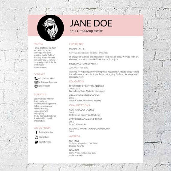 like this item - Makeup Artist Resume