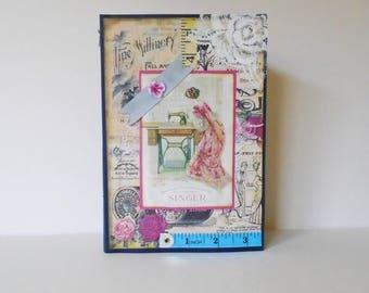 Sewing Theme Journal, Junk Journal, Handmade Journal, Writers Diary, Sewing Memories Book, Smash Book Journal, Scrapbook Album,