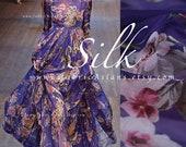 Purple Chiffon silk Owl squirrel fabric by the yard