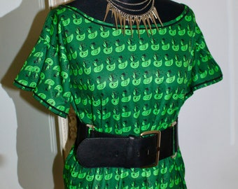 RockaPoodle Green Duck Top / Blouse (UK Size 12, possibly 14?)