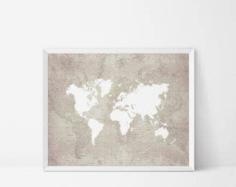 World map download etsy world map printable travel printable map wall art retro map poster adventure gumiabroncs Gallery