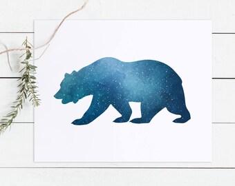 Bear printable, bear print, bear wall art, nature decor, bear nursery art, galaxy print, navy blue art, nebula art, cabin decor, space art
