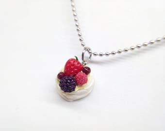 Summer Pavlova Necklace, Pavlova Charm, Strawberry Pavlova Charm, Summer Berries Dessert, Dessert Necklace, Food Necklace, Summer Jewelry