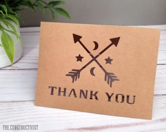 Arrow 》THANK YOU 《 Notecards/Paper Cut/Moon & Stars/4.25 x 5.5