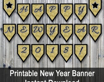 Happy New Year 2018 Banner - Printable New Years Eve Banner - Gold Glitter PDF - Includes Extra Coundown Numbers and Stars -INSTaNT DOWNLoAd