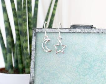 Moon + Star Sterling Silver Earrings; gifts for her, jewellery, zodiac, boho, cosmic, night, sky, galaxy, celestial, summer, luna