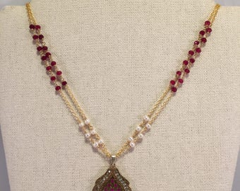 Two Strands Red Jasper, And Pearl Necklace, With Pendant