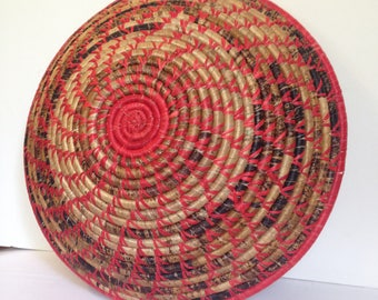 FREE SHIPPING - Hand Woven Sisal Basket - Spiral - Red/Marbled Brown